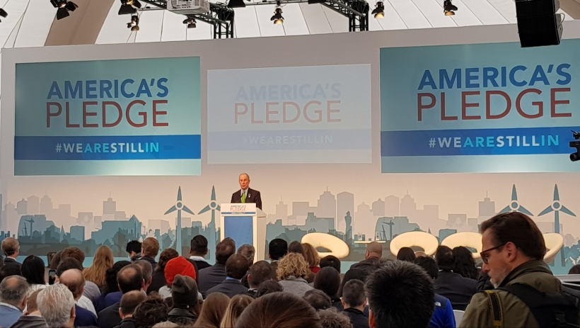 Michael Bloomberg, Philantropist and former Mayor of NY, introducing America's Pledge bypassing Trump's inaction on climate change